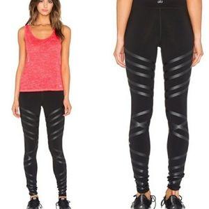 ALO Yoga black striped moto leggings XS